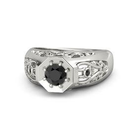 Men's Round Black Diamond 14K White Gold Ring with Black Diamond