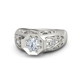 Round Diamond 14K White Gold Ring with Diamond