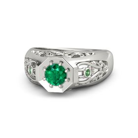 Round Emerald 14K White Gold Ring with White Sapphire and Emerald