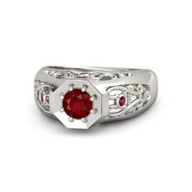 Men's Round Ruby 14K White Gold Ring with Ruby