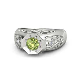 Round Peridot 14K White Gold Ring with Diamond