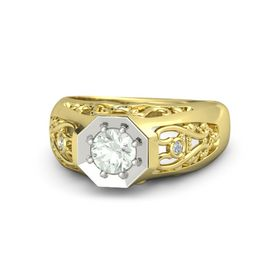 Round Green Amethyst 14K Yellow Gold Ring with Diamond