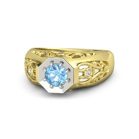 Round Blue Topaz 14K Yellow Gold Ring with Blue Sapphire and White Sapphire