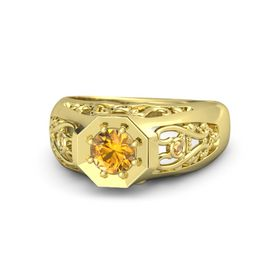 Men's Round Citrine 14K Yellow Gold Ring with Citrine
