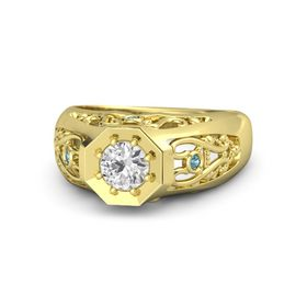 Round White Sapphire 14K Yellow Gold Ring with London Blue Topaz