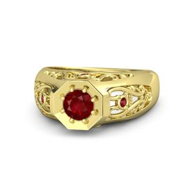 Men's Round Ruby 14K Yellow Gold Ring with Ruby