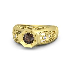 Round Smoky Quartz 14K Yellow Gold Ring with Tanzanite