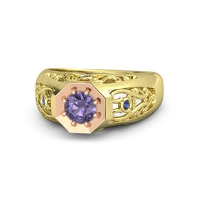 Round Iolite 14K Yellow Gold Ring with Blue Sapphire