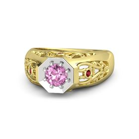 Round Pink Sapphire 14K Yellow Gold Ring with Ruby