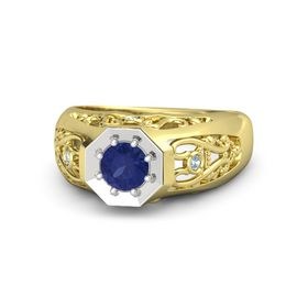 Round Blue Sapphire 14K Yellow Gold Ring with Aquamarine