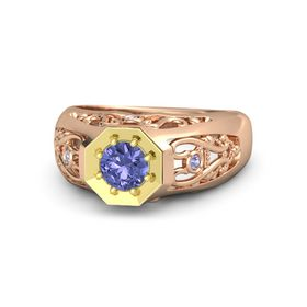 Round Tanzanite 18K Rose Gold Ring with Tanzanite