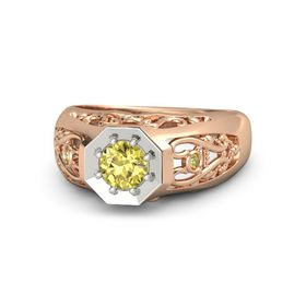 Men's Round Yellow Sapphire 18K Rose Gold Ring with Yellow Sapphire