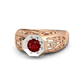 Men's Round Ruby 18K Rose Gold Ring with Diamond