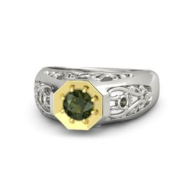 Round Green Tourmaline 18K White Gold Ring with Green Tourmaline