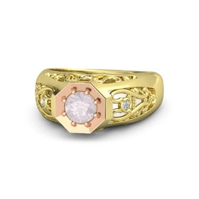 Round Rose Quartz 18K Yellow Gold Ring with Diamond