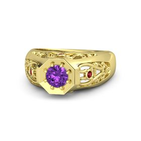 Men's Round Amethyst 18K Yellow Gold Ring with Ruby