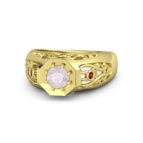 Round Rose Quartz 18K Yellow Gold Ring with Ruby