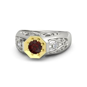 Men's Round Red Garnet Palladium Ring with Diamond