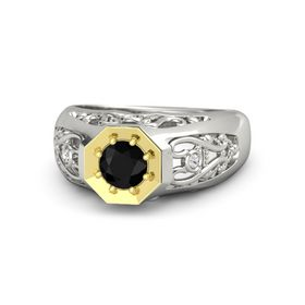 Round Black Onyx Palladium Ring with White Sapphire