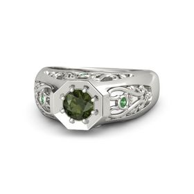 Round Green Tourmaline Palladium Ring with Emerald