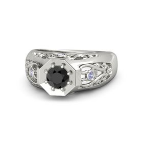 Round Black Diamond Palladium Ring with Tanzanite