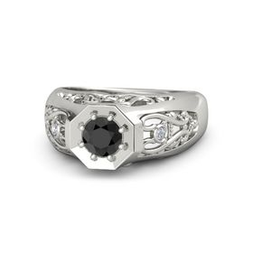 Men's Round Black Diamond Platinum Ring with Diamond