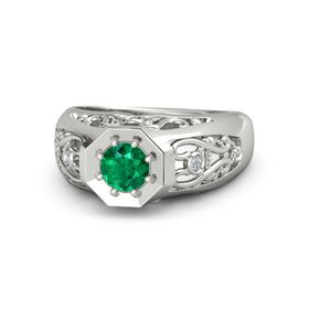 Men's Round Emerald Platinum Ring with Diamond