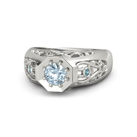 Round Aquamarine Platinum Ring with Blue Topaz and London Blue Topaz