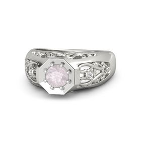 Round Rose Quartz Platinum Ring with White Sapphire