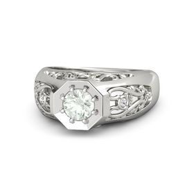 Round Green Amethyst Platinum Ring with White Sapphire