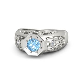 Men's Round Blue Topaz Platinum Ring with Diamond