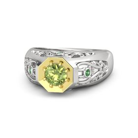 Round Peridot Sterling Silver Ring with Emerald