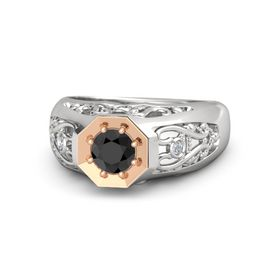 Round Black Diamond Sterling Silver Ring with Diamond