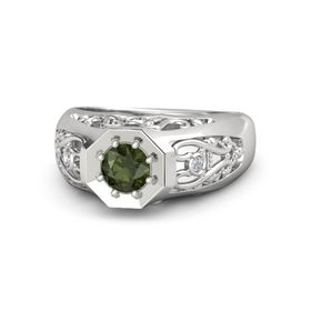 Men's Round Green Tourmaline Sterling Silver Ring with Diamond