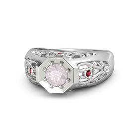 Men's Round Rose Quartz Sterling Silver Ring with Ruby