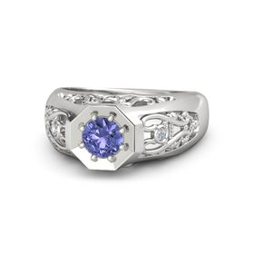 Men's Round Tanzanite Sterling Silver Ring with Diamond