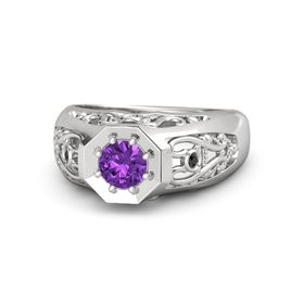 Round Amethyst Sterling Silver Ring with White Sapphire and Black Diamond