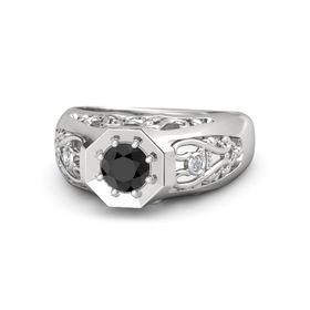 Men's Round Black Diamond Sterling Silver Ring with Diamond