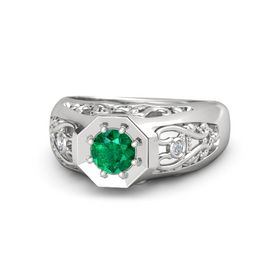 Men's Round Emerald Sterling Silver Ring with Diamond