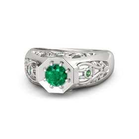 Men's Round Emerald Sterling Silver Ring with Emerald