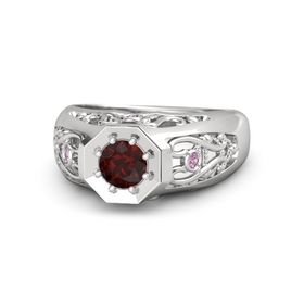 Men's Round Red Garnet Sterling Silver Ring with Pink Tourmaline