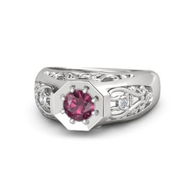 Round Rhodolite Garnet Sterling Silver Ring with Diamond
