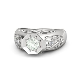Round Green Amethyst Sterling Silver Ring with Diamond