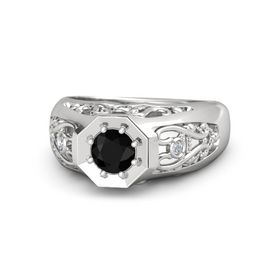 Men's Round Black Onyx Sterling Silver Ring with Diamond