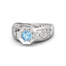 Round Blue Topaz Sterling Silver Ring with Iolite and White Sapphire