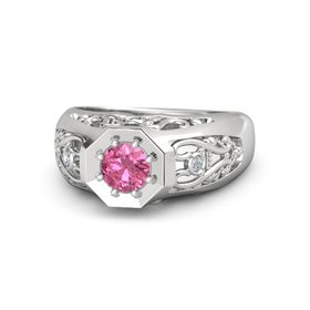 Men's Round Pink Tourmaline Sterling Silver Ring with Diamond