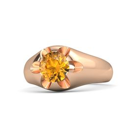 Men's Round Citrine 14K Rose Gold Ring
