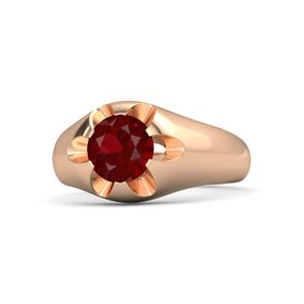 Men's Round Ruby 14K Rose Gold Ring