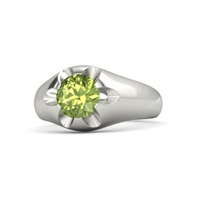 Men's Round Peridot 14K White Gold Ring