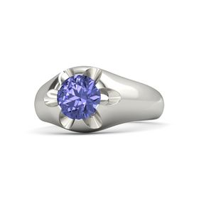 Men's Round Tanzanite 14K White Gold Ring